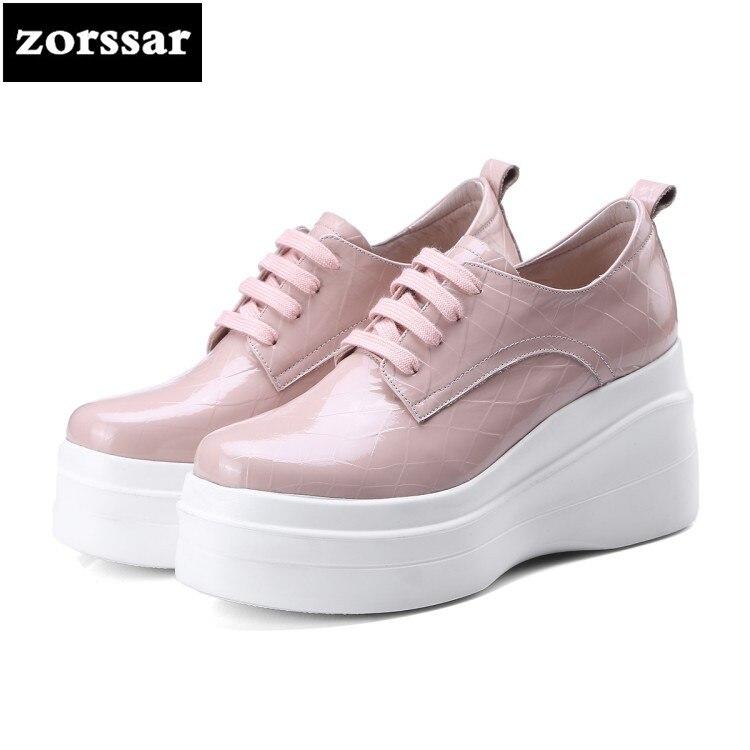 aa2f3dd0 2018 Genuino Bombas De Plataforma Rosado Encaje blanco Mujer Cuero  {zorssar} Damas Tacones Moda Ocio Zapatos Casuales ...