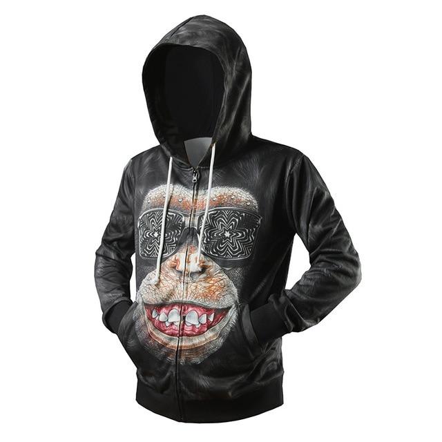 1c4f88d06 New men's fashion gorilla 3D stereo print cardigan Hoodie L06-in ...