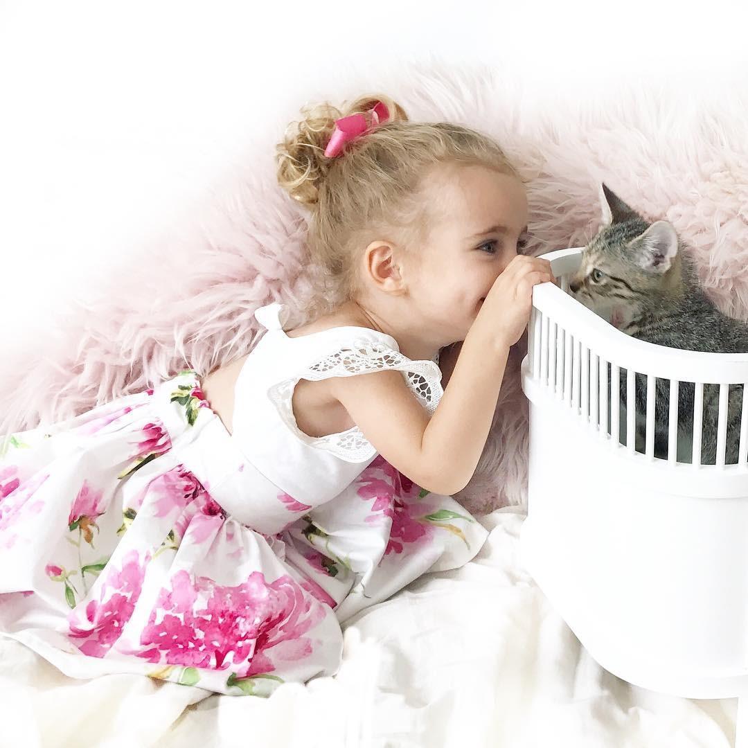 2 7Year Floral Kleinkind Kinder Baby Mädchen Spitze Blumenkleid ...