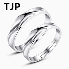 TJP New Fashion 925 Sterling Silver Lovers Ring Jewelry Simple Water Pattern Women Bride Wedding Anniversary Adjustable