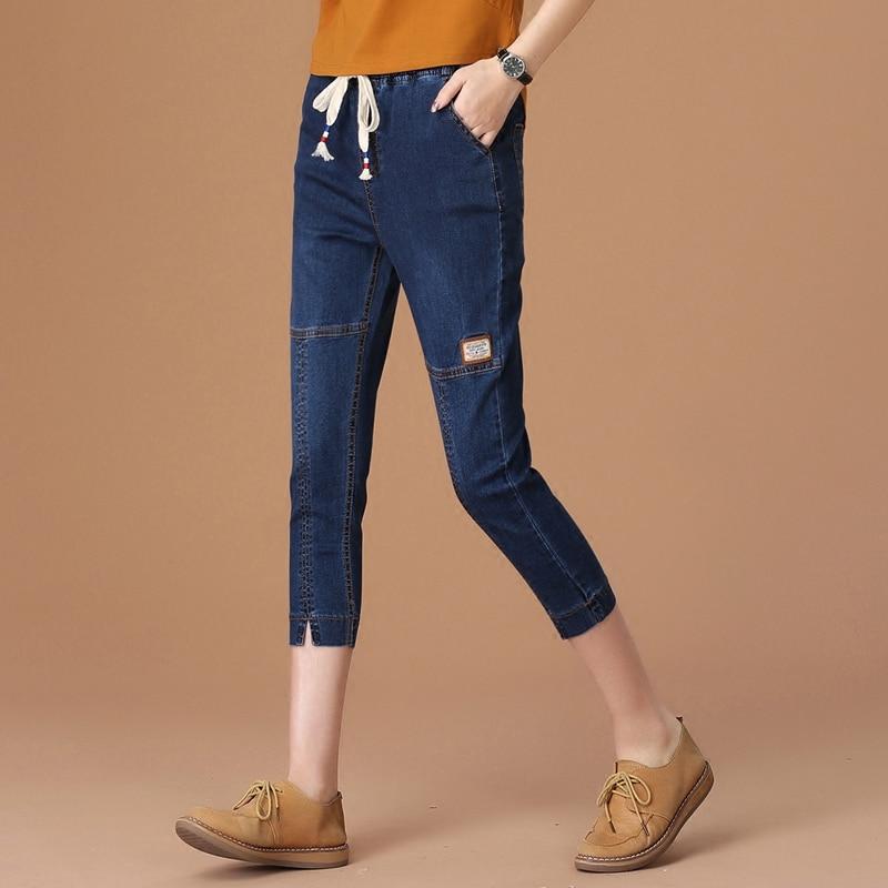 2017 summer elastic waist female harem capris pants loose thin high waist jeans