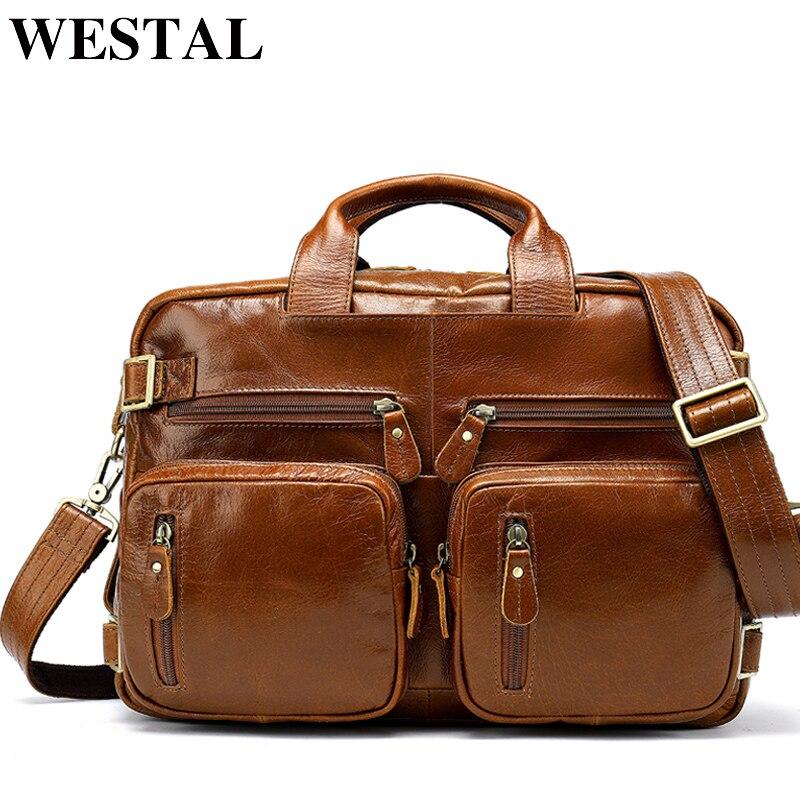 WESTAL Multifunction Leather Laptop Bags Genuine Leather Men Bag Shoulder Messenger Bag Men Crossbody Bags Leather