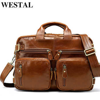 WESTAL Multifunction Leather Laptop Bags Genuine Leather Men Bag Shoulder Messenger Bag Men Crossbody Bags Leather Handbags 341 - Category 🛒 Luggage & Bags