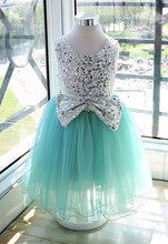 Summer Kids Girls Tulle Lace Party Dresses Baby Girl Sequined Bow Dress Babies Princess Dress 2016 Children's Clothing