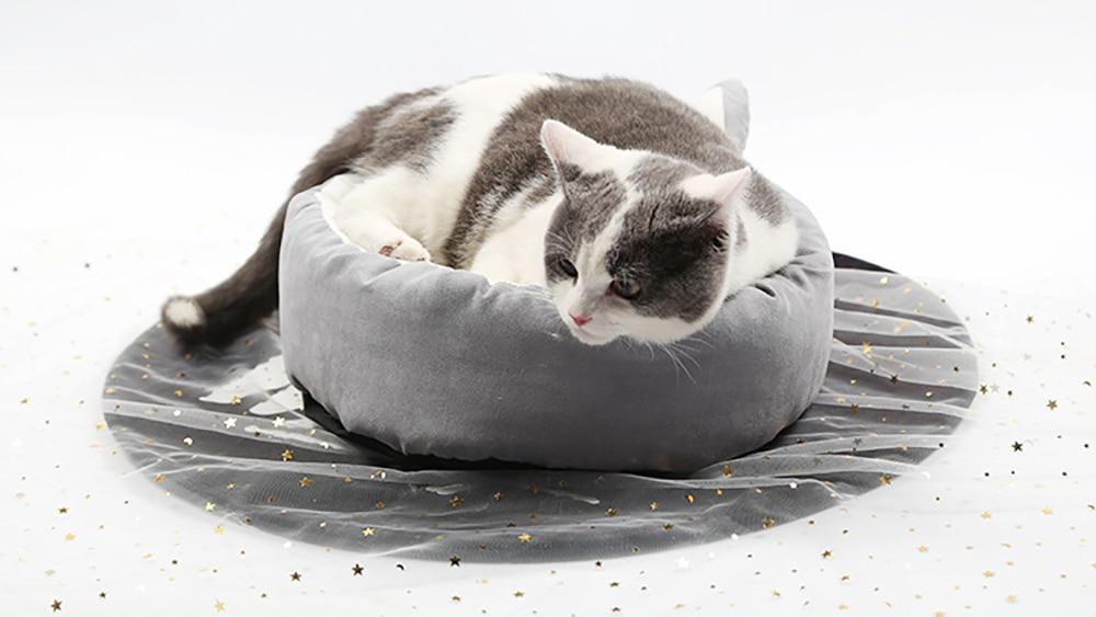 Lit de chat extérieur chauffant hiver