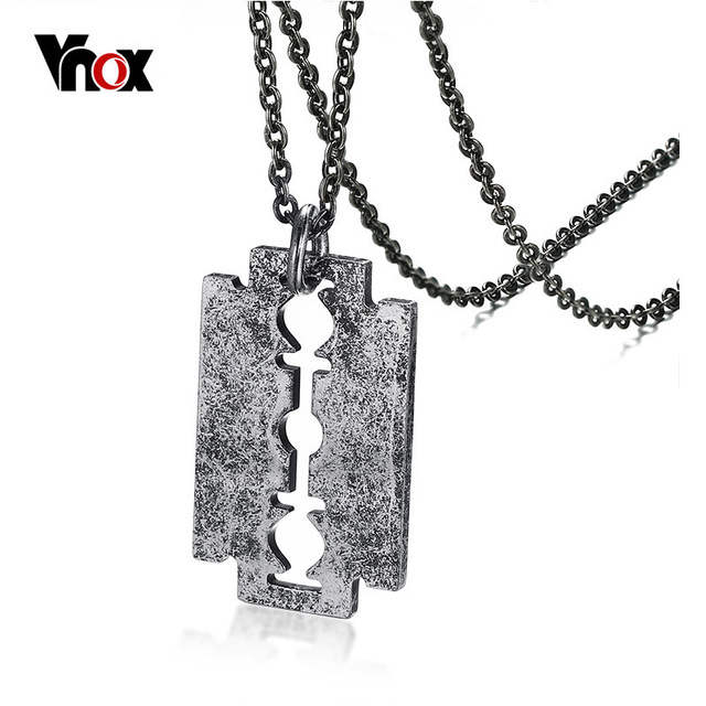 Vnox cool punk male shaver shape necklaces pendants free chain 24 vnox cool punk male shaver shape necklaces pendants free chain 24 retro stainless steel razor thecheapjerseys Image collections