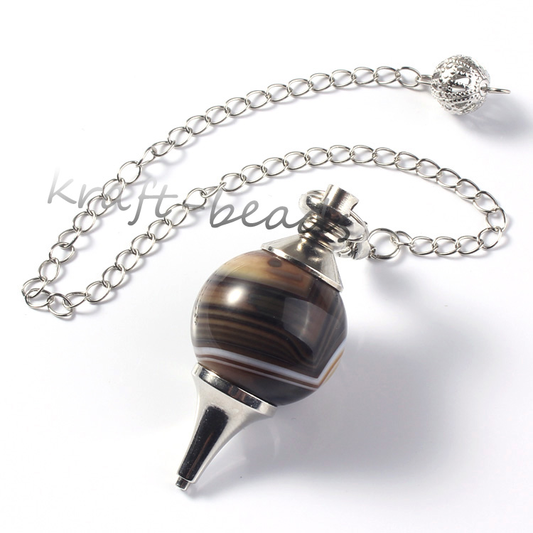 Image 3 - wholesale 10 Pcs Charm mixture precious stone Silvery Metal Ball  Chain Dowsing Healing Chakra Pendulum Gifthealing chakrachakra  pendulumprecious stones
