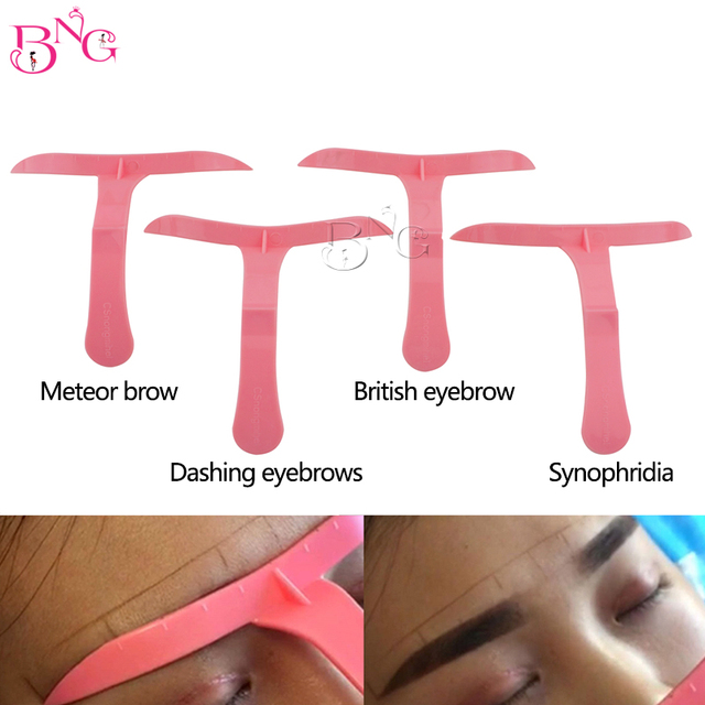 4pcs/Set 3Sets Eyebrow Permanent Makeup Tool Eyebrows Tattoo Ruler Marker Template Eye Cosmetic Magical Grooming Shape Model