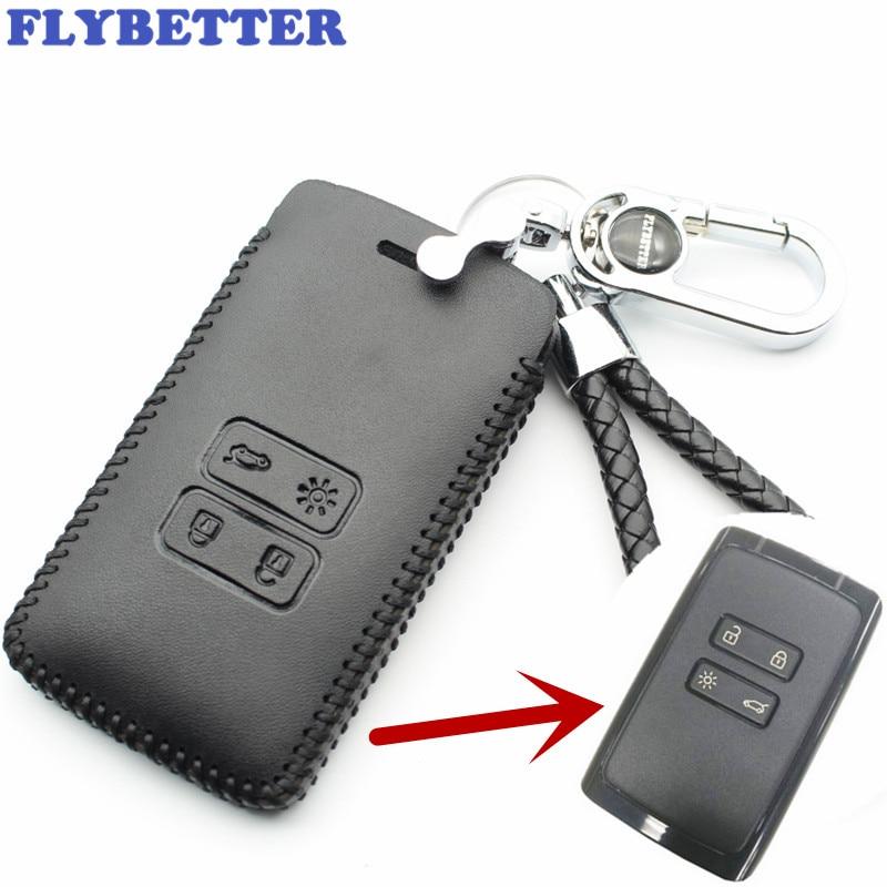 FLYBETTER de cuero genuino 4 botón llave inteligente cubierta de la caja para Renault Kadjar estilo de coche (B) L2000