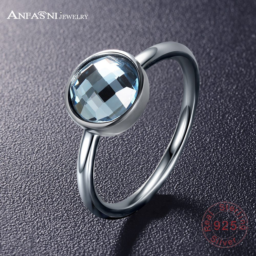 anfasni original 925 sterling silver rings blue