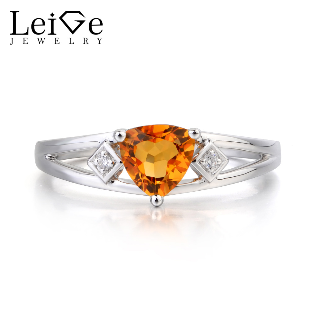 Leige Jewelry Promise Ring Real Natural Citrine Ring Yellow Gems Trillion Cut Gemstone 925 Sterling Silver Ring Gifts for HerLeige Jewelry Promise Ring Real Natural Citrine Ring Yellow Gems Trillion Cut Gemstone 925 Sterling Silver Ring Gifts for Her