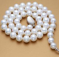 925 silver real natural big Round to 9 10mm mm freshwater pearl necklace with silver buckles sent packing african beads silver