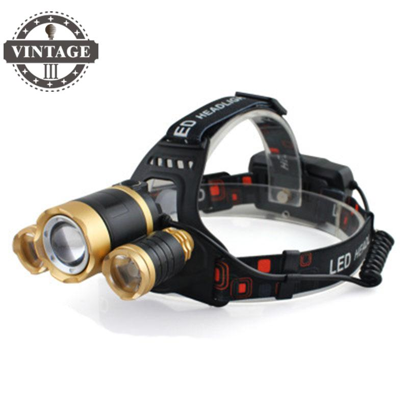 RJ-5000 Headlamp LED Headlight 18650 T6 8000 Lumens 3Led USB Power bank Rechargeable Hunting zoomable Head Light