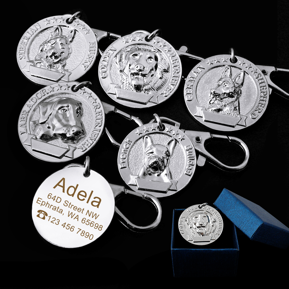 Dog ID Tag Engraved Personazlied Dog Name Tags Nameplate French Bulldog Anti-lost Pet Pendant Dog Accessories Collar Pendant