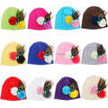 Bebes niños pequeños Beanie Cap pluma de pavo real + flor del bebé del sombrero primavera otoño 100% algodón niños sombrero SW056 3-12 meses