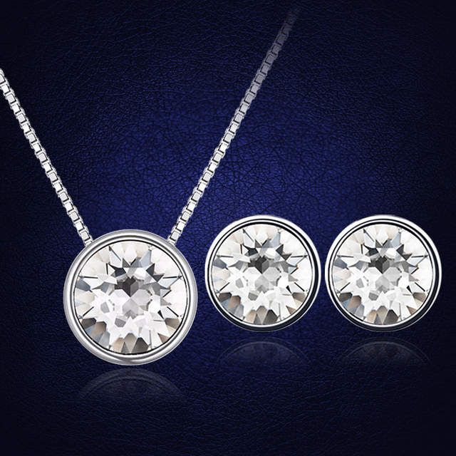 Crystals From Swarovski Round Pendant Necklace Stud Earrings Set For Women  Jewelry Set Mother S Gift 0e83697ac2