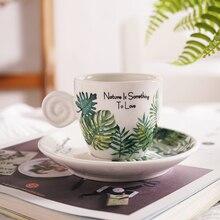 90 мл форма яйца монстера шаблон эспрессо чашки и блюдца с резьбовой ручкой тропический лист дизайн чашки для кафе