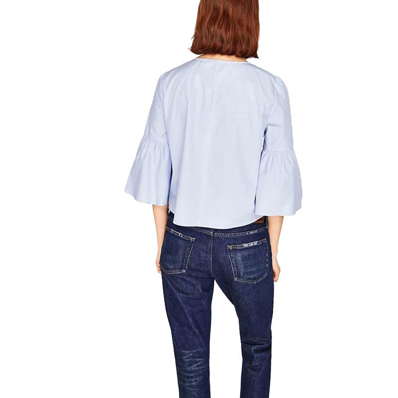 AZZPL-2017-New-Summer-Fashion-Women-pearls-beading-shirt-Blusas-O-neck-3-4-flare-sleeve