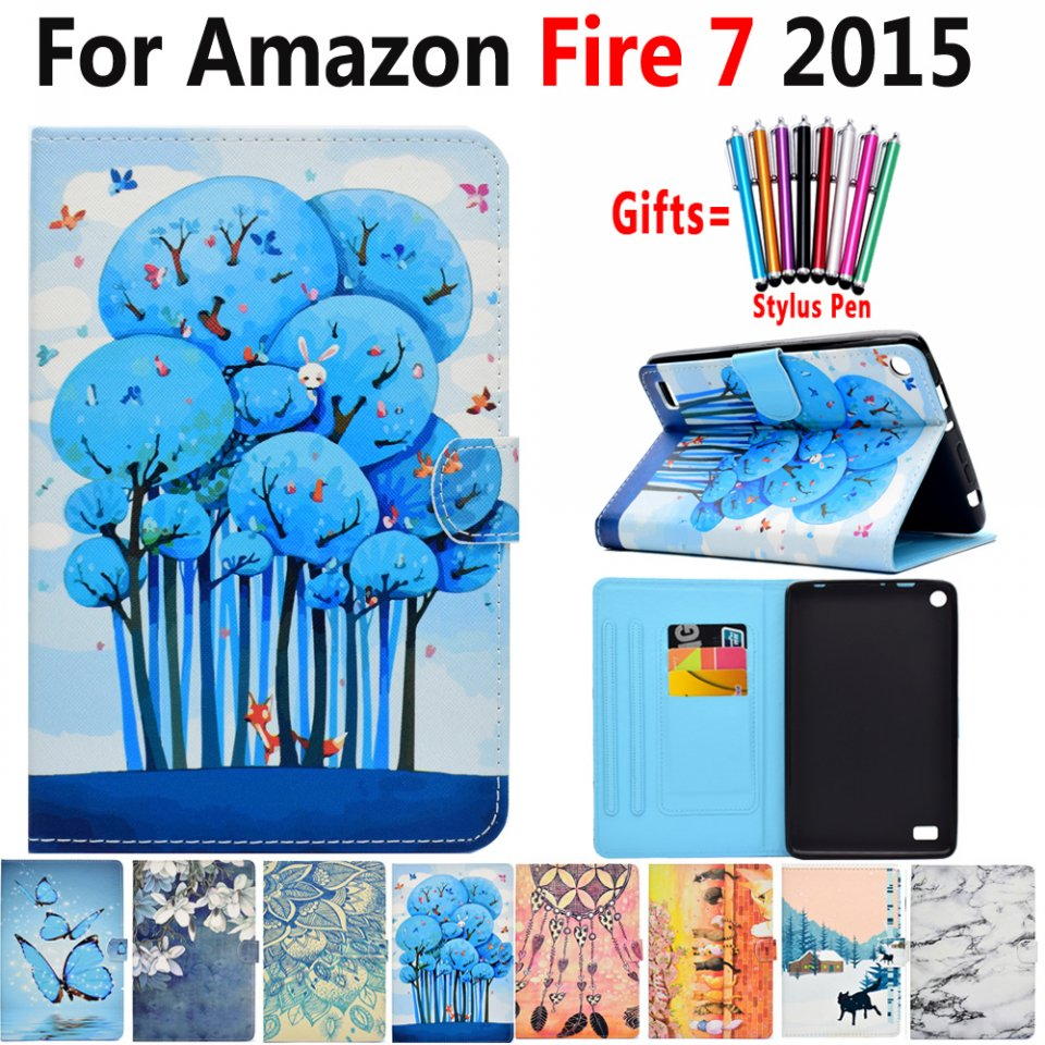 Case for Amazon Fire 7 7.0 inch 2015 Cover Premium Fashion Painted Leather Flip Tablet Case for Amazon Fire 7 Coque Capa Funda