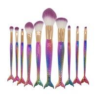New 10Pcs Set Multicolored Mermaid Makeup Brushes Fish Scale Fishtail Make Up Brush Rainbow Unicorn Cosmetic