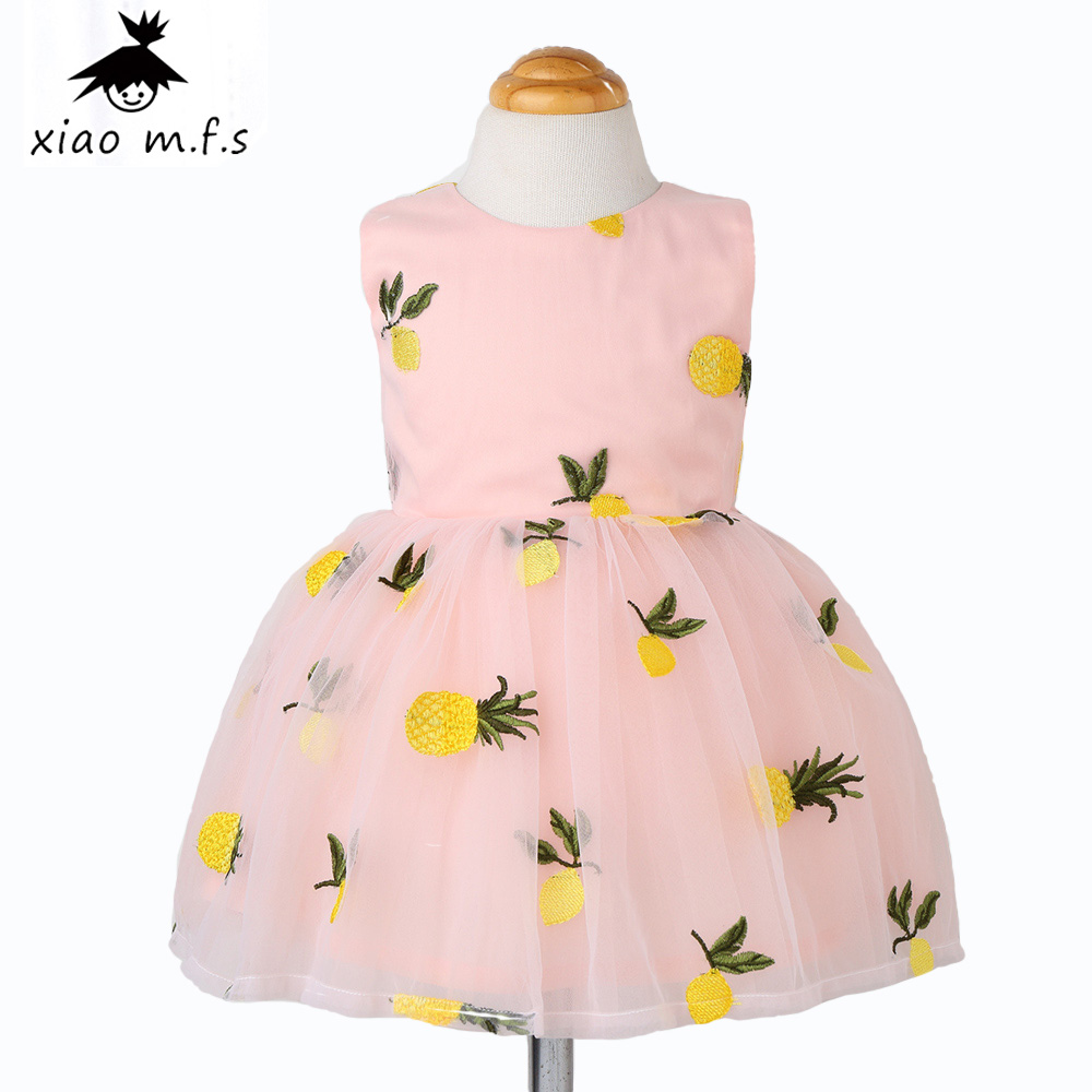 2017 brand baby girl clothes pineapple girls dress kids princess dresses toddler clothing for party and wedding free shipping 2017 new girls dresses for party and wedding baby girl princess dress costume vestido children clothing black white 2t 3t 4t 5t