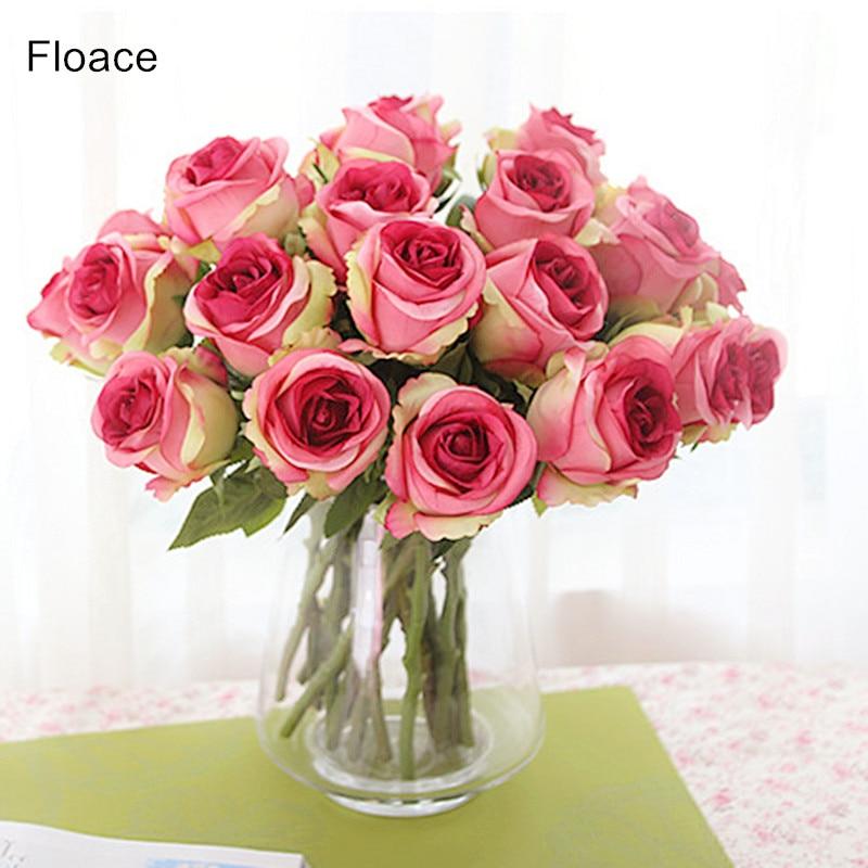 Floace 11pcs / lot, תאילנדית המלכותי רוז upscale פרחים מלאכותיים משי פרח ורדים קישוט הבית פרחים - אין אגרטל