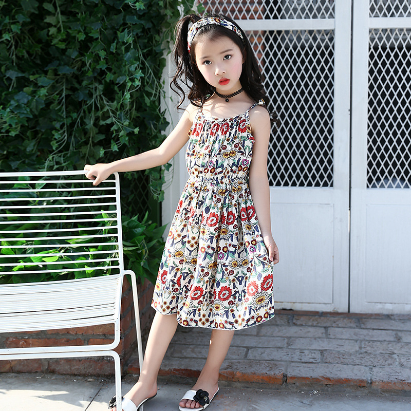 226e2159f1b53 Summer 2018 Children Dress Beautiful Print Cotton Beach Dresses for Girls  Teenage Floral Sling Dress 4-12 Years Vestido Infantil