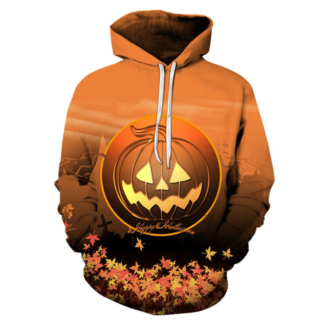 Halloween gift skull  yellow pumpkin 3D Hoodies Sweatshirts Men Women Hoodie Casual Tracksuits Fashion Brand Hooded Coats loose