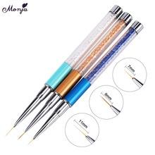 Monja 7/9/11mm 3pcs/set Nail Art Rhinestone Metal Stripes Lines Liner Brush French Flower Painting  Drawing Pen Manicure Tool