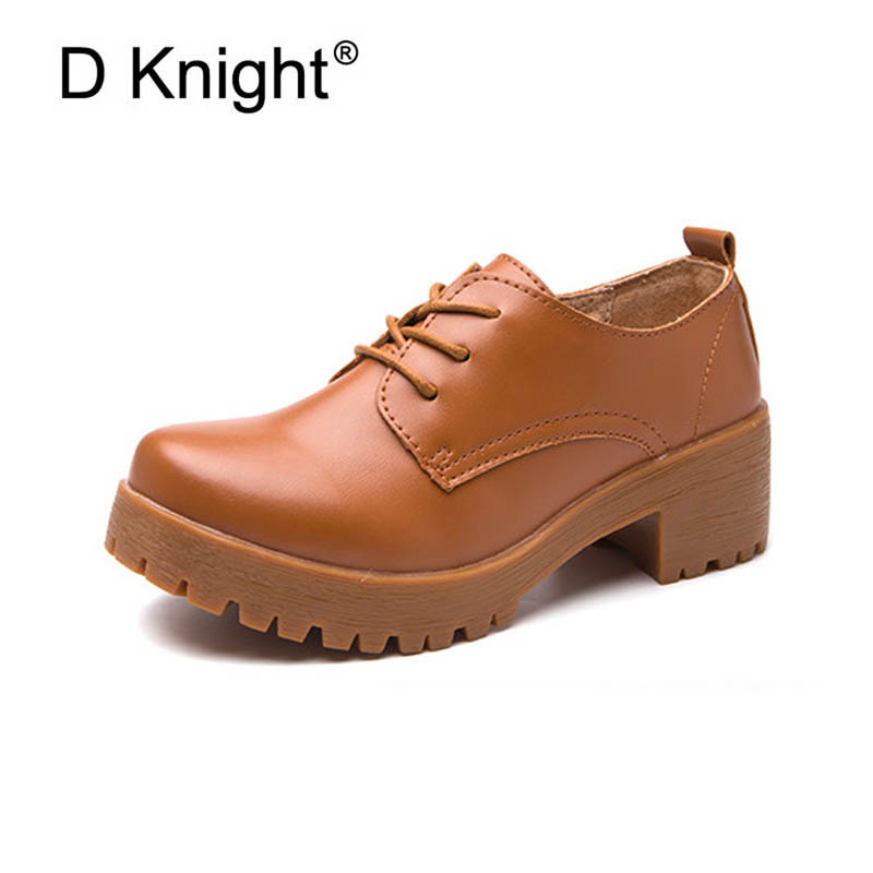 Women Oxford Shoes Split Leather Spring Causal Shoes Lace Up Oxfords Shoes For Woman Vintage Young Ladies Creeper Platform Shoes 2017 fujin new oxford shoes women spring autumn split leather oxford shoes flats shoes woman ladies shoes lace up