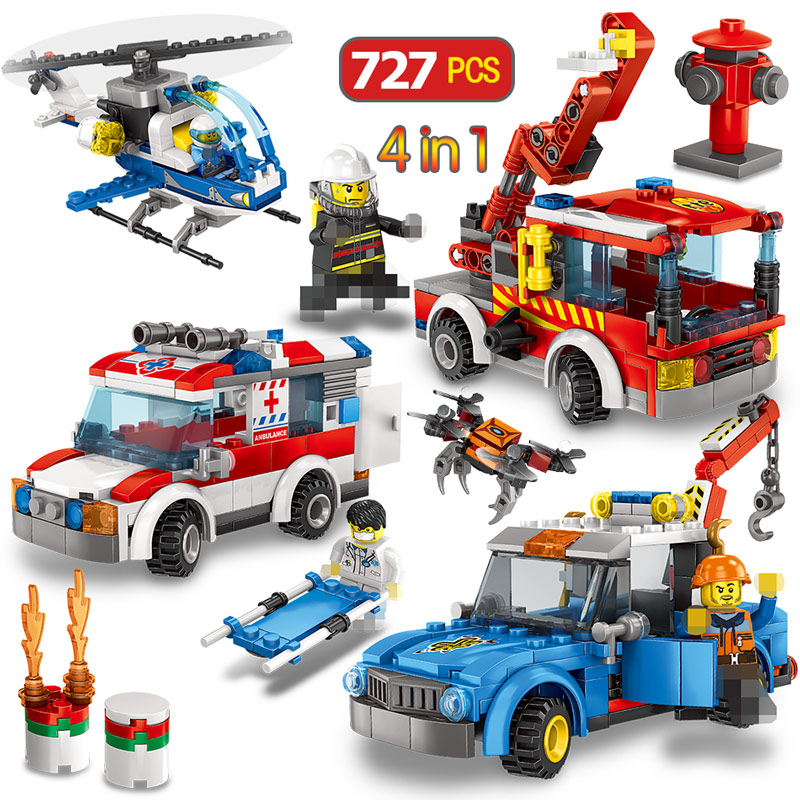 727PCS Ambulance Helicopter Fire Truck Blocks Toy Legoings City Police Guard Car Figures Building Bricks Toys For Children Boys