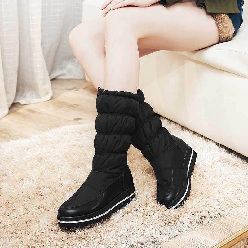Kadın Kış Kar Botları Hakiki deri diz üzerinde uyluk düz platformu uzun çizmeler siyah kalın kürk Botları kadın 2019 ayakkabı