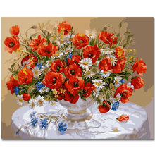 WONZOM Red Flowers-DIY Oil Painting By Numbers,Framed Wall Picture,Oil Canvas Paint By Numbers Home Decor Picture 40x50cm(China)