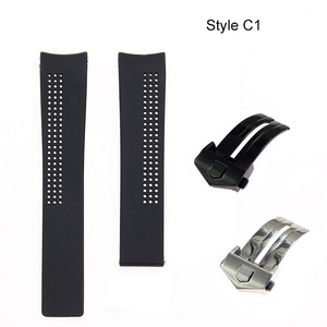 Image 4 - 20 22 24mm black silicone watch band for Heuer carrer a calibre 16 series sports waterproof strap bracelet wristband Accessories