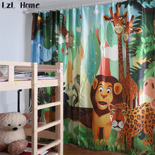 LzL Home hot happy cute cartoon lion tiger deer blackout curtain for kids room modern fashion style 3d printed window curtains