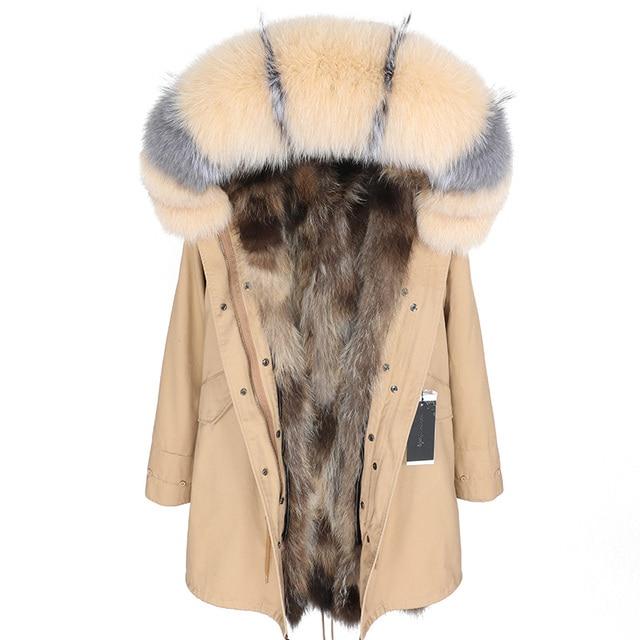 Maomaokong 2020新暖かい冬の女性のコート自然アライグマの毛皮のライニングジャケットリアルフォックス毛皮の襟ロングパーカージャケット
