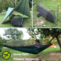 Tewango Multiuse Portable Hammock Camping Survivor Hammock With Mosquito Net Stuff Sack Unnel Shape Swing Bed