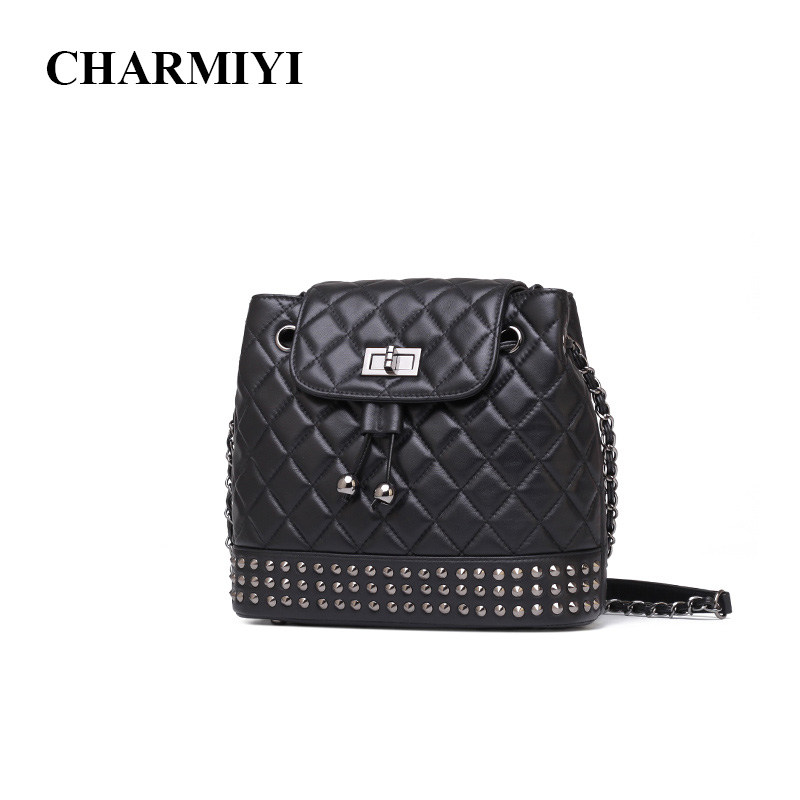 CHARMIYI 2018 Luxury Genuine Leather Rivet Women Messenger bags Famous Brand Ladies Shoulder Crossbody bag Fashion Lady Handbags tcttt luxury handbags women bags designer fashion women s leather shoulder bag high quality rivet brand crossbody messenger bag