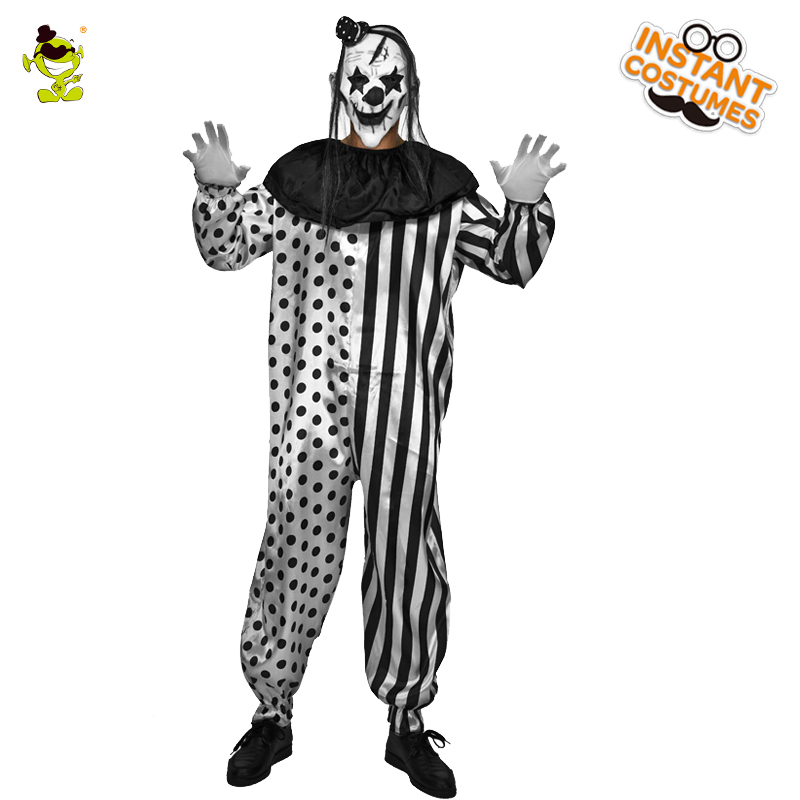 Adult Men's  Horror Killer Clown Costumes Mask With Halloween Costume Party Clown Jumpsuit Cosplay Killer Clown Costumes