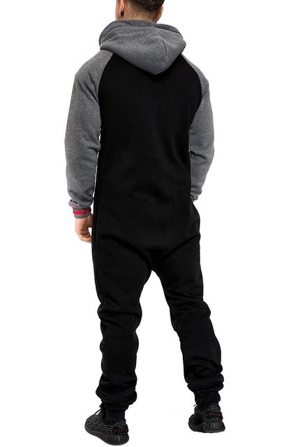Casual Autumn Hooded Tracksuit Jumpsuit Long Pants Romper For Male Mens Fleece warm Overalls Sweatshirts Male Streetwear X9126 2