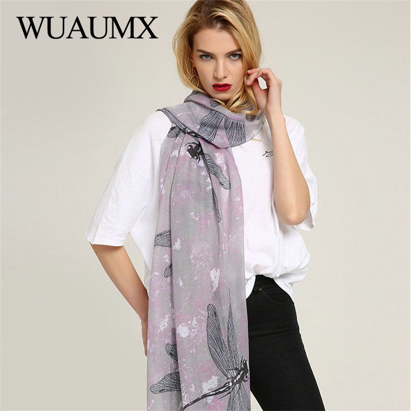 Wuaumx Fashion Women Scarves Wraps Viscose Scarf For Women Hijab Animal Dragonfly Pattern Scarf Long Shawl Foulard Femme Echarpe