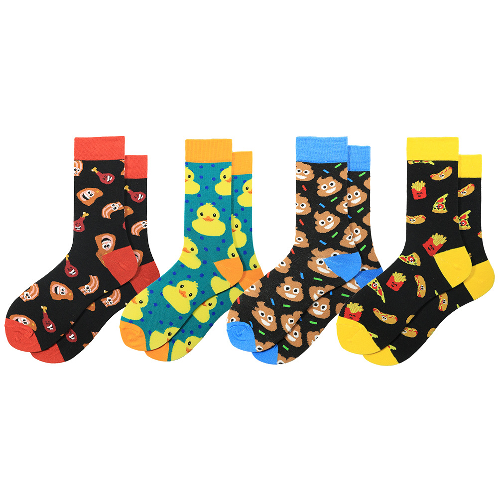 Combed Cotton Fashion Hip Hop Men Socks Trend Harajuku Stool Duck Chicken Leg Burger French Fries Happy Funny Socks