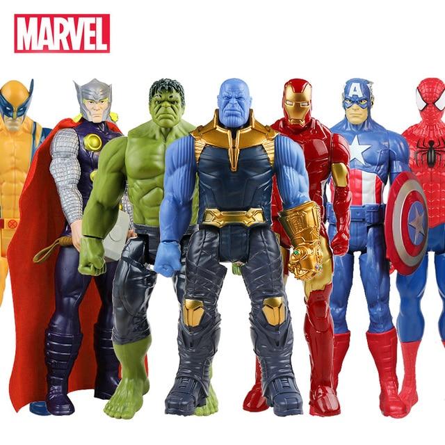 Endgame 30 centímetros Vingadores Marvel Thanos Spiderman Homem De Ferro Capitão América Thor Hulk Wolverine Action Figure Bonecas Brinquedos para o Miúdo