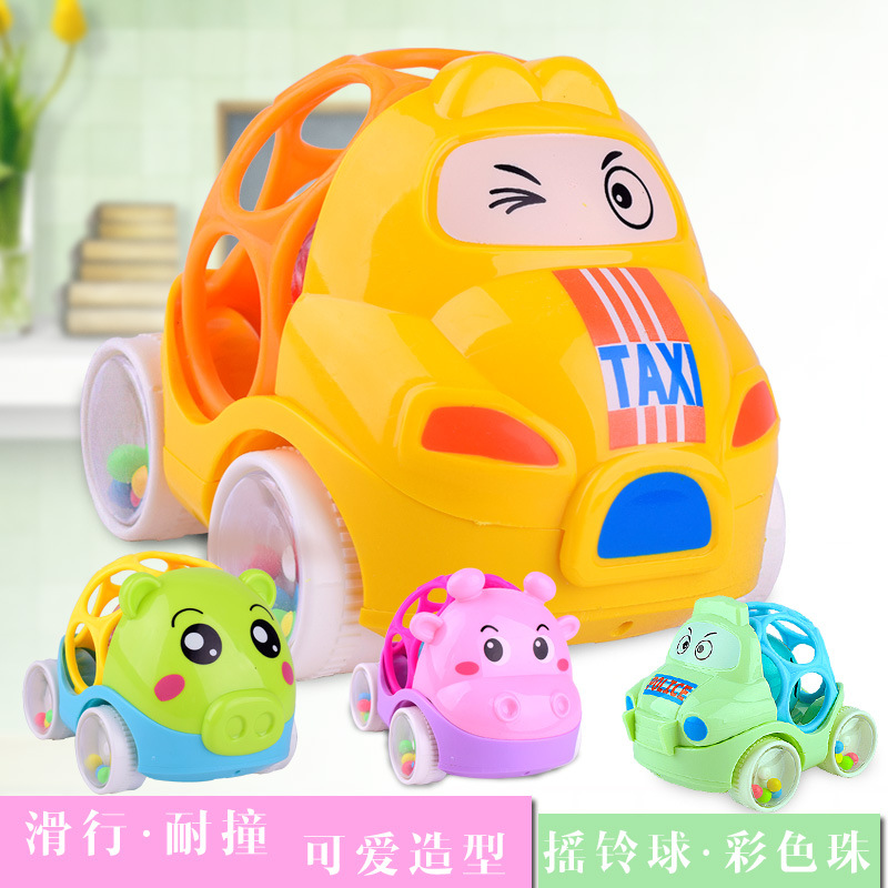Baby cartoon soft gel hand rattling baby early education hand grasping ball intelligent puzzle bell push cart toy wholesale