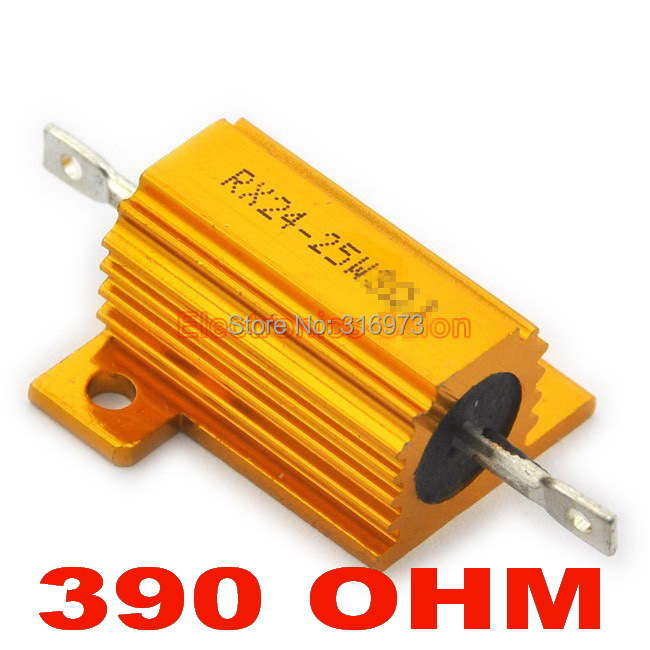 (20 pcs/lot) <font><b>390</b></font> <font><b>OHM</b></font> 25W Wirewound Aluminum Housed <font><b>Resistor</b></font>, 25 Watts. image