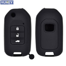 3 Button Silicone Car Key Fob Pocket Cover Case For Honda Civic CR-V HR-V Accord Jade Crider Odyssey 2015- 2018 Remote Protector(China)