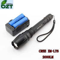 CREE XM L T6 1600Lumens Cree Led Torch Zoomable Cree LED Flashlight Torch Light 2pcs 18650