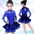 Lace latina vestido da dança para meninas crianças roupas palco desempenho vestido de mangas compridas fardas Salsa latina traje dança L116