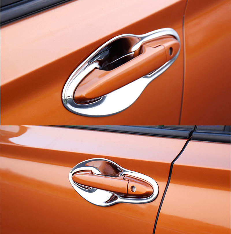 ABS CHROME <font><b>DOOR</b></font> <font><b>HANDLE</b></font> BOWL COVER CUP CAVITY TRIM INSERT OVERLAY BEZEL MOLDING GARNISH FOR <font><b>HONDA</b></font> VEZEL HR-V <font><b>HRV</b></font> 2014 2015 2016 image