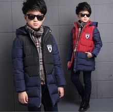 Fashion New Arrivals 2016 Winter Kids Down Coat Patchwork High Quality Cotton Padded Infant Overcoat Hooded Coats For Boy 5-15T
